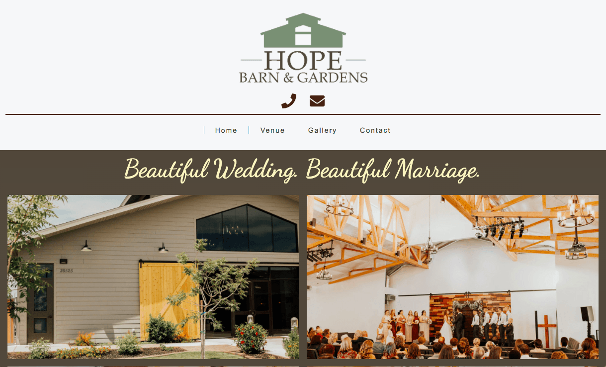 Hope Barn and Gardens Website